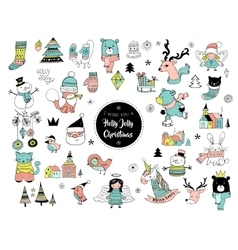 Christmas hand drawn cute doodles and elements vector