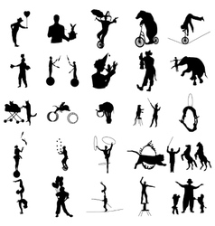 Circus silhouette set simple style vector