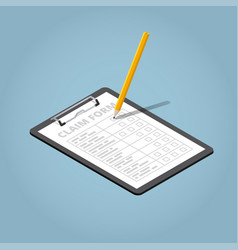 claim form isometric vector image