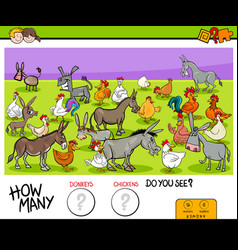 Counting donkeys and chickens educational game vector