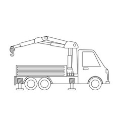 Crane truck outline isolated on white background vector