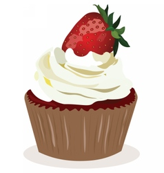 Cupcake with strawberry cream vector image