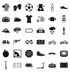 Cycling icons set simple style vector