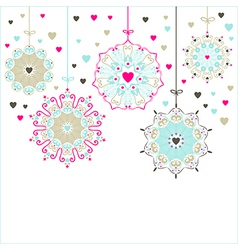 Decorative stars with hearts vector image