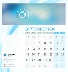 Desk Calendar for 2016 Year September Stationery vector