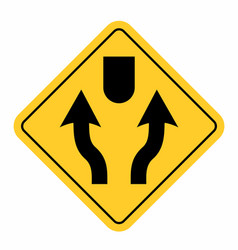 divided lanes traffic sign vector image