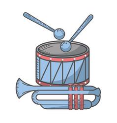 drum sticks and trumpet vector image