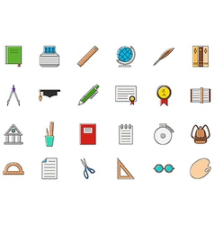 Education colorful icons set vector image