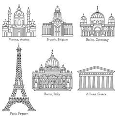 European landmarks line icons vector