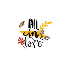 Fall in love autumn badge isolated design label vector