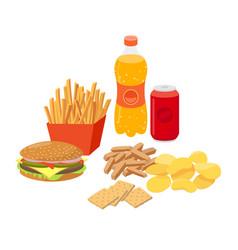 Fast food junk food set in flat design vector