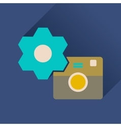 Flat icon with long shadow camera settings vector image