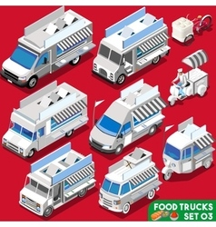 Food Truck Set04 Vehicle Isometric vector image