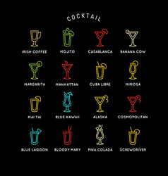 for bar menu set alcoholic cocktails vector image