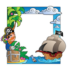 frame with sea and pirate theme 2 vector image