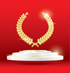 Gold laurel wreath on podium vector