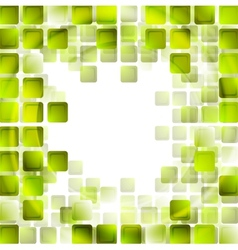 Green tech squares on white background vector