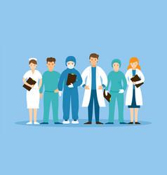 Group doctors and nurses wearing uniform vector