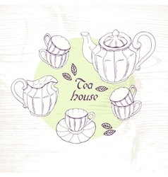 Hand drawn tea porcelain service set vector image
