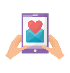 hands with smartphone message love romantic vector image