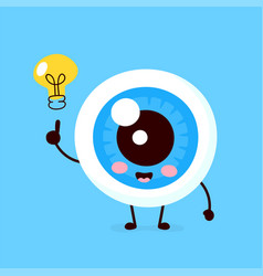 happy cute eyeball with lightbulb character vector image