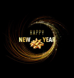 happy new year greeting card with golden spiral vector image