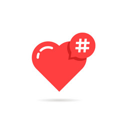 Hashtag logo like red heart vector