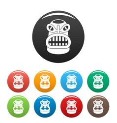 hawaii idol statue icons set color vector image