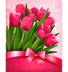 Holiday background with pink flowers and gift bow vector