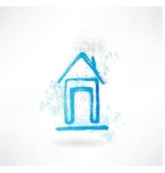 House grunge icon vector