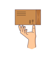 human hand is holding vector image