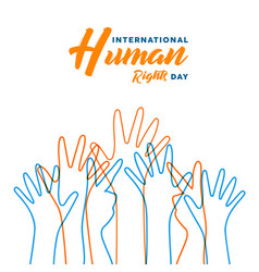 Human rights day card of diverse people hands vector