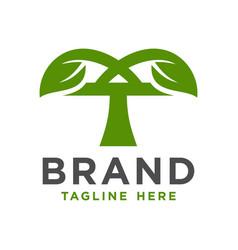 initial logo design leaves t vector image