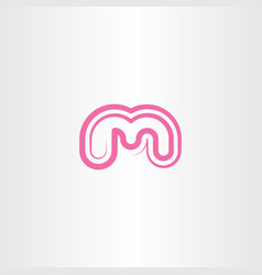 letter m icon pink symbol element sign vector image