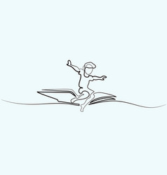 little boy flying on book in the sky vector image