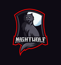night wolf mascot logo design with modern vector image