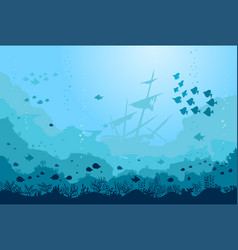 ocean underwater background with fishes and sunken vector image