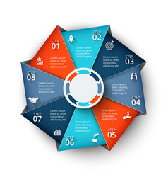 Octagon element for infographic vector