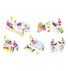 online home work couple with laptops isometric vector image