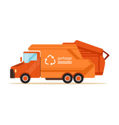 Orange garbage collector truck waste recycling vector