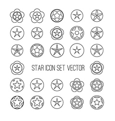 Outline star icon set vector