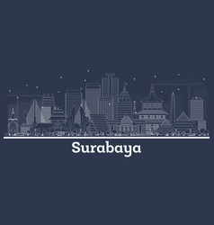 outline surabaya indonesia city skyline vector image