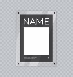 poster mockup in acrylic frame realistic glass vector image