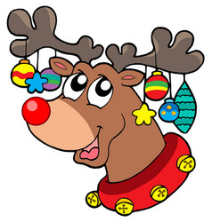 Reindeer with christmas decorations vector