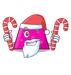 Santa with candy trapezoid mascot cartoon style vector