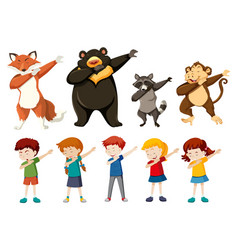 Set dabbing people and animals vector
