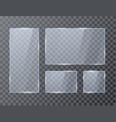 set empty glass geometric rectangle banners vector image