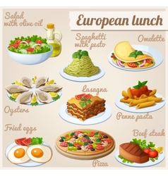 Set food icons european lunch vector