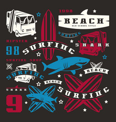 set graphic elements bus surfing shark vector image