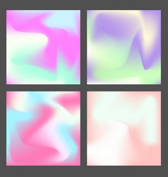 Set of color holographic squares design vector